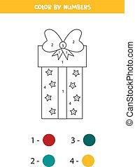 game., matemática, cor, caricatura, numbers., caixa presente