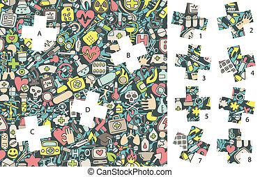 game., medicine:, versteckt, streichholz, stücke, loesung, ...
