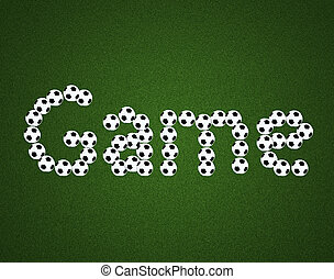 Game message on soccer field center and ball top view background
