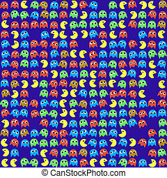 Game monsters seamless generated pattern