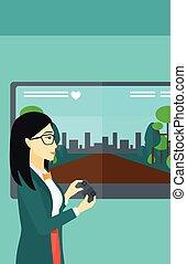 game., mulher, vídeo, tocando