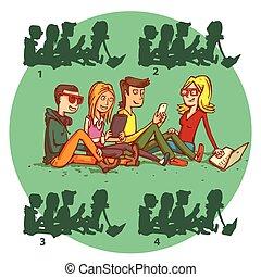 game., no.2., visueel, schaduw, tieners, oplossing, gadgets