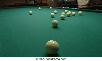 Game of billiards in pool hall - russian pyramid