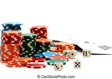 Accessories for poker and dice isolated on a white background.