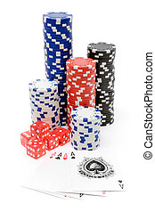 Poker set isolated on a white background.