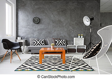 Game of colors in living room - Living room with grey walls...