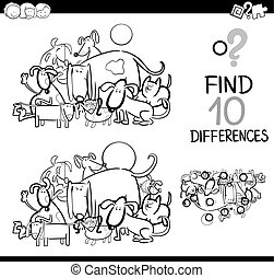 Black and White Cartoon Illustration of Finding Details Educational Activity for Children with Dog Animal Characters Coloring Page