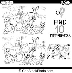game of differences with animals - Black and White Cartoon...
