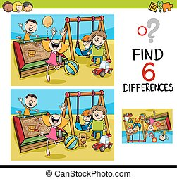game of differences with kids - Cartoon Illustration of...