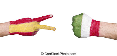 Game of rock, paper, scissors with flags of Spain and Italy