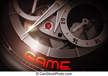 Game on the Luxury Wristwatch Mechanism. 3D.