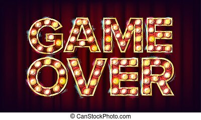 Game Over Banner Vector. Casino 3D Glowing Element. For Slot Machines, Card Games Design. Modern Illustration
