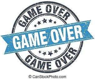 game over blue round grunge vintage ribbon stamp