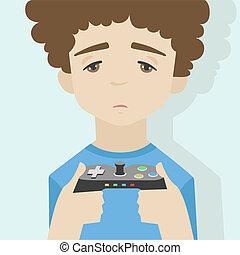 Game over boy flat illustration - Flat illustration of...