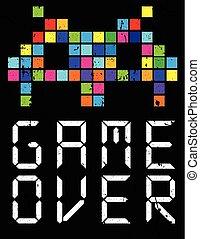 Game over cartoon slogan