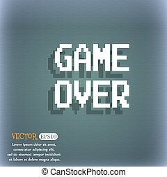 Game over concept icon. On the blue-green abstract background with shadow and space for your text. Vector