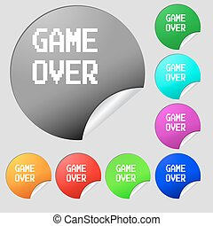 Game over concept icon sign. Set of eight multi colored round buttons, stickers. Vector