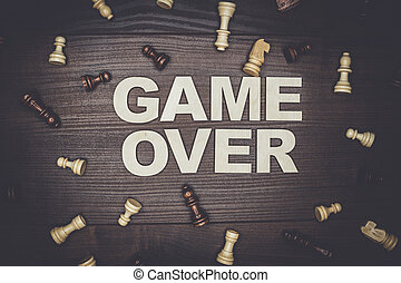 game over concept on wooden background - game over concept...