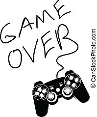 Game over - Game controller isolated on a white background...