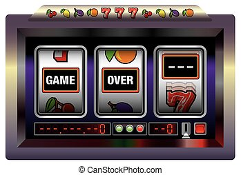 Gaming machine lettering GAME OVER. Isolated vector illustration over white background.