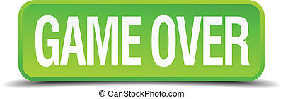 game over green 3d realistic square isolated button