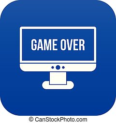 Game over icon digital blue