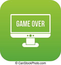 Game over icon digital green