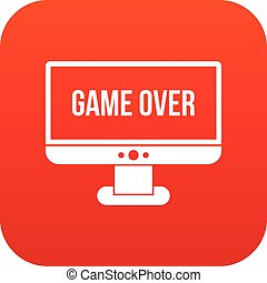 Game over icon digital red