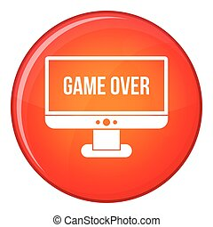 Game over icon, flat style