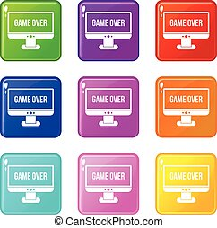 Game over icons 9 set