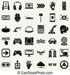 Game over icons set, simple style