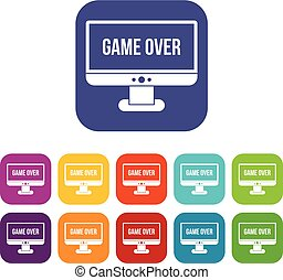 Game over icons set