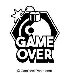 "Game over"" lettering game design trendy phrase"