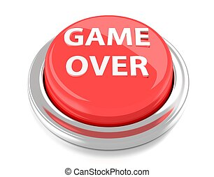 GAME OVER on red push button. 3d illustration. Isolated background.