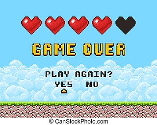 Game over pixel art arcade game screen vector illustration