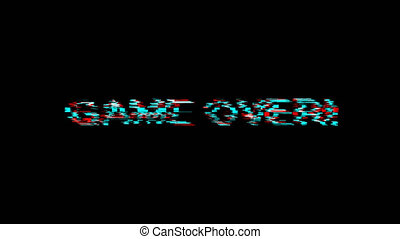 game over pixel text  on glitch old screen display animation...