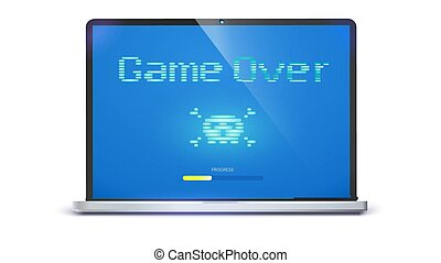 Game over, pixel text, skull and bones on screen. Laptop with message requiring attention. Retro style of TV or computer game , 3D illustration isolated on white background.