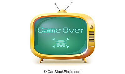 Game over, pixel text, skull and bones on screen. Yellow TV set with message. Retro style of TV or computer game , 3D illustration isolated on white background.