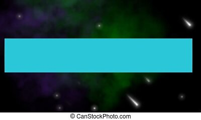 Game over, play again outro, pixelated lettering, rotating horizontal block, 3d animation on animated space background with stars, nebula and meteorits