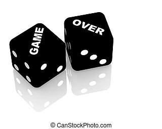 Game over - Playing cubes with an inscription game over