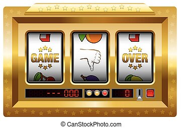Game over - golden slot machine with three reels lettering GAME OVER and a thumb down symbol. Isolated vector illustration on white background.