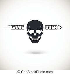 Game over, symbol with skull.