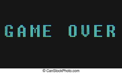 GAME OVER - text animation with green letters over black...