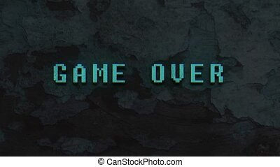 GAME OVER - text animation with green letters over vintage...