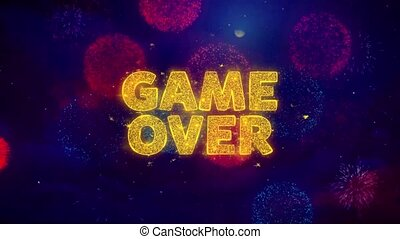 Game Over Text on Colorful Ftirework Explosion Particles.