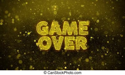 Game Over Text on Golden Glitter Shine Particles Animation.