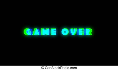 Game over text with bad signal. Glitch effect. Seamless loop