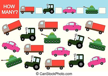 game., pédagogique, activité, children., comment, transports?, beaucoup