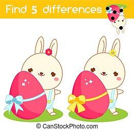 game., pédagogique, page., différences, trouver, activité, paques, egg., gosses, lapin, amusement, enfants