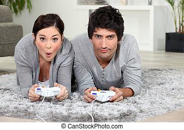 game., paar, video, spielende